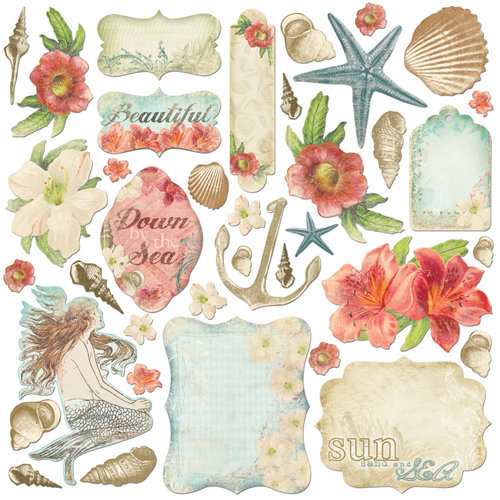 Creative Imaginations - Beach Cottage Collection - Die Cut Pieces - Beach Cottage Shapes