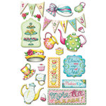 Creative Imaginations - Tea Time Collection - Epoxy Stickers - Tea Time