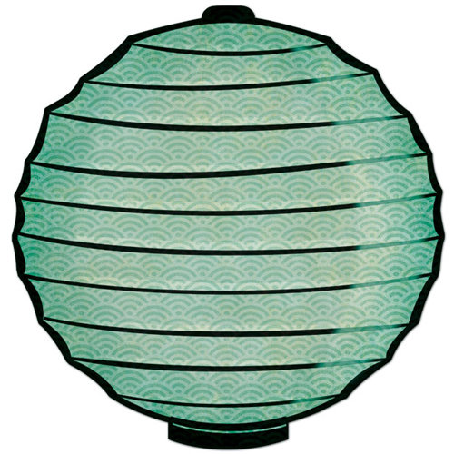 Creative Imaginations - Kokeshi Collection - 12 x 12 Die Cut Paper - Teal Lantern