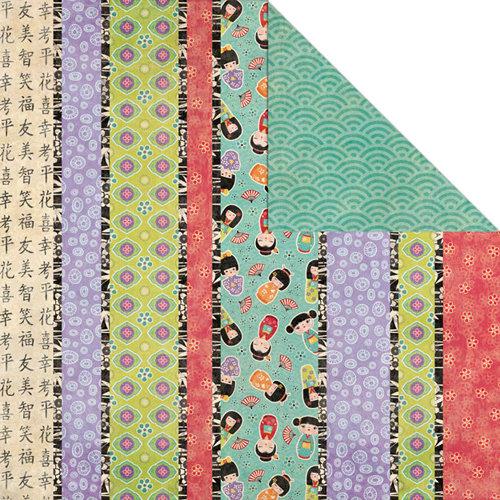 Creative Imaginations - Kokeshi Collection - 12 x 12 Double Sided Paper - Kokeshi Stripe