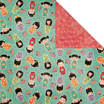 Creative Imaginations - Kokeshi Collection - 12 x 12 Double Sided Paper - Kokeshi Doll