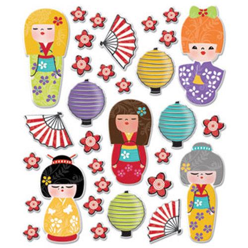 Creative Imaginations - Kokeshi Collection - Epoxy Stickers - Kokeshi