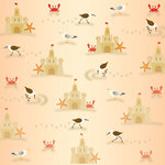 Creative Imaginations - Splish Splash Collection - 12 x 12 Paper with Glitter Accents - Sandcastles