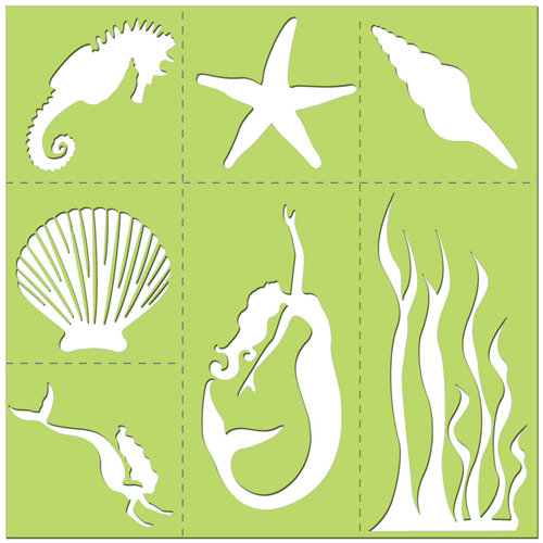 Creative Imaginations - Existencil Expressions Collection - 12 x 12 Stencil Kit Sheet - Oceana