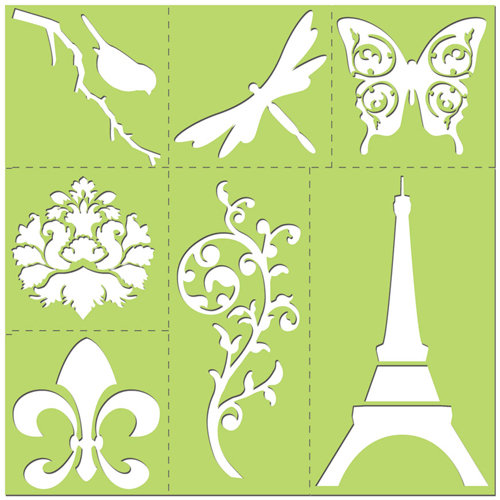Creative Imaginations - Existencil Expressions Collection - 12 x 12 Stencil Kit Sheet - Bon Soir