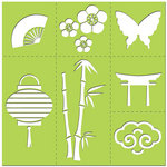 Creative Imaginations - Existencil Expressions Collection - 12 x 12 Stencil Kit Sheet - Cherry Blossom
