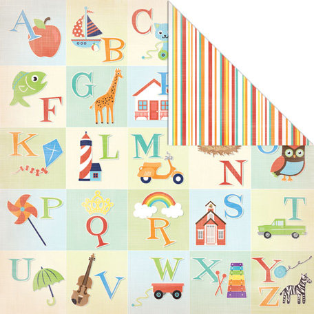Creative Imaginations - A to Z Collection - 12 x 12 Double Sided Paper - ABC's