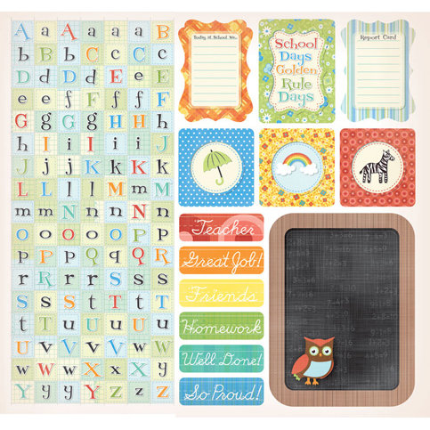 Creative Imaginations - A to Z Collection - 12 x 12 Cardstock Stickers - A to Z Alphabet