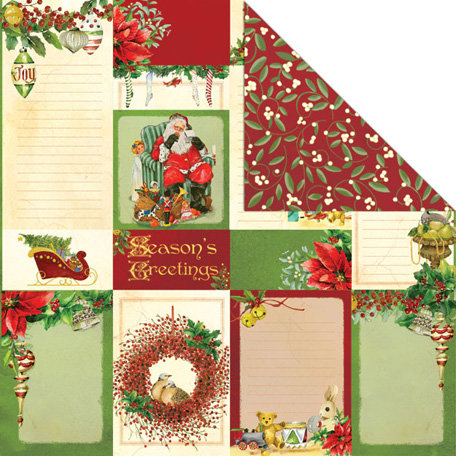 Creative Imaginations - Dear Santa Collection - Christmas - 12 x 12 Double Sided Paper - Seasons Greetings