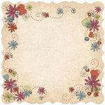 Creative Imaginations - Ragamuffin Collection - 12 x 12 Stitched Die Cut Paper - Floral Medley
