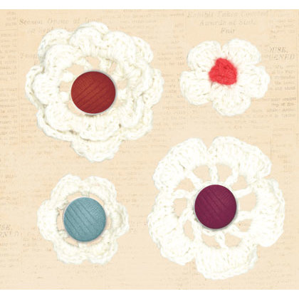 Creative Imaginations - Ragamuffin Collection - Crocheted Flower Brads