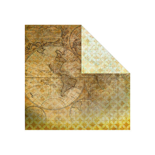 Creative Imaginations - Old World Travel Collection - 12 x 12 Double Sided Paper - Atlas