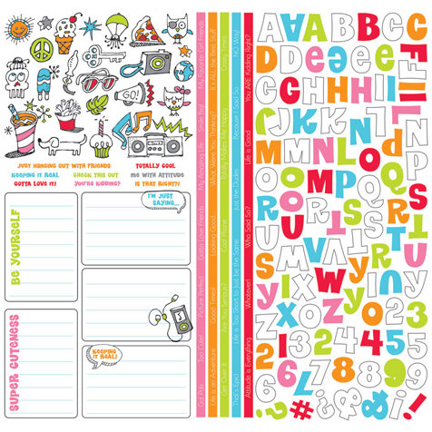 Creative Imaginations - KidDoodle Collection - 12 x 12 Cardstock Stickers - KidDoodle