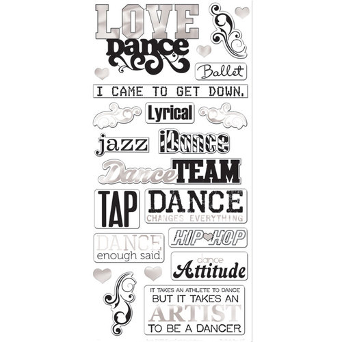 Creative Imaginations - Dance Collection - Chipboard Stickers - Love Dance