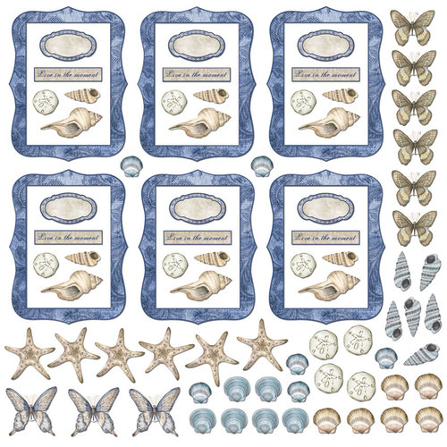 Creative Imaginations - Oceanside Collection - Artist Trading Cards - Die Cut Cardstock Pieces