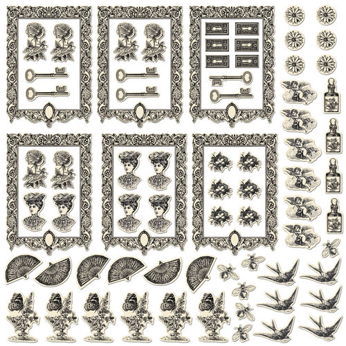 Creative Imaginations - Antique Collection - Artist Trading Cards - Die Cut Cardstock Pieces