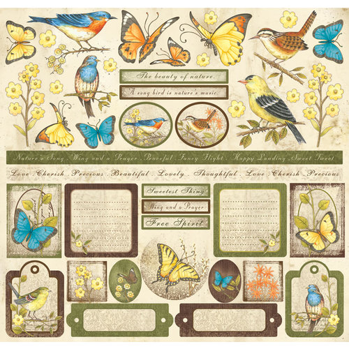 Creative Imaginations - Song Birds Collection - 12 x 12 Cardstock Stickers - Song Birds