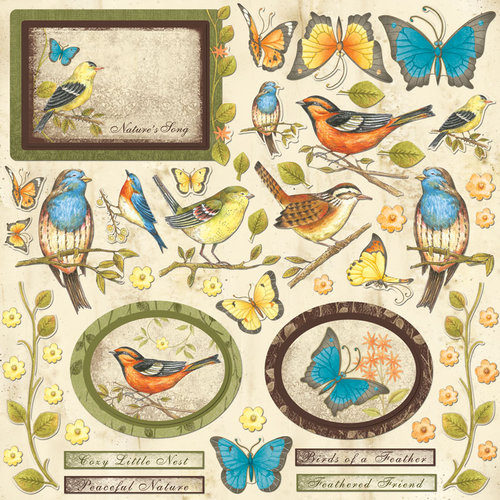 Creative Imaginations - Song Birds Collection - Die Cut Cardstock Pieces