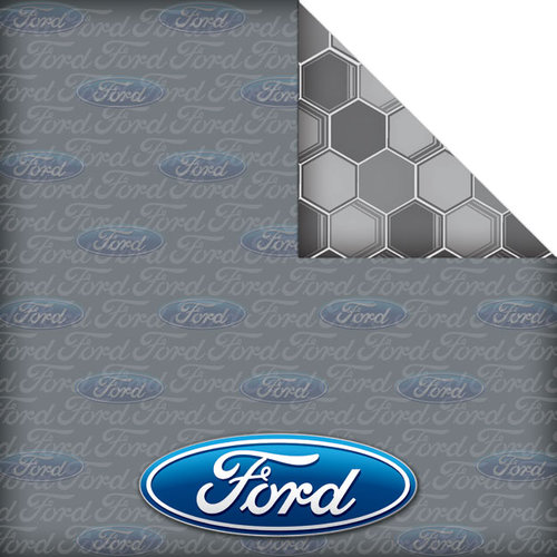 Creative Imaginations - Ford Enthusiast Collection - 12 x 12 Double Sided Paper - Ford Logo