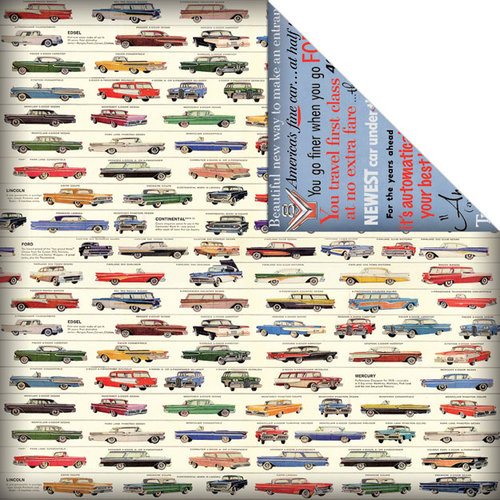 Creative Imaginations - Ford Enthusiast Collection - 12 x 12 Double Sided Paper - Retro Ads