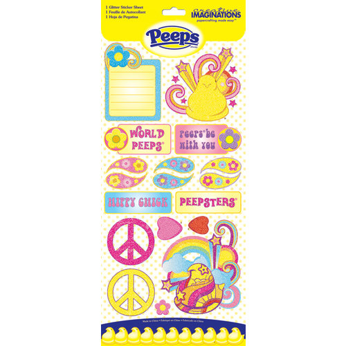 Creative Imaginations - Peace Collection - Peeps - Cardstock Stickers with Glitter Accents - Peace