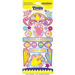 Creative Imaginations - Peace Collection - Peeps - Chipboard Stickers with Glitter Accents - Peace
