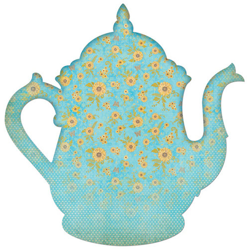 Creative Imaginations - Tea Party Collection - 12 x 12 Die Cut Paper - Teapot