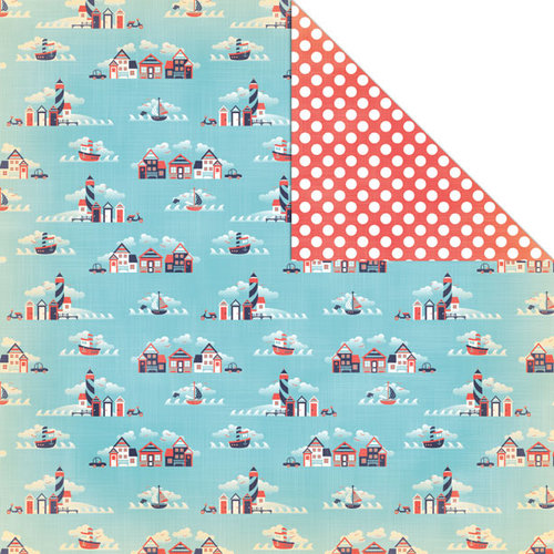 Creative Imaginations - Nautical Collection - 12 x 12 Double Sided Paper - By the Sea