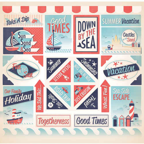 Creative Imaginations - Nautical Collection - 12 x 12 Cardstock Stickers - Nautical