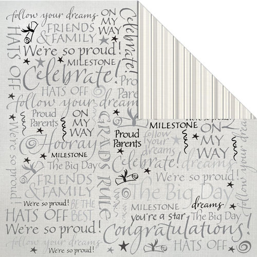 Creative Imaginations - Congrats Grad Collection - 12 x 12 Double Sided Paper - Grad Words
