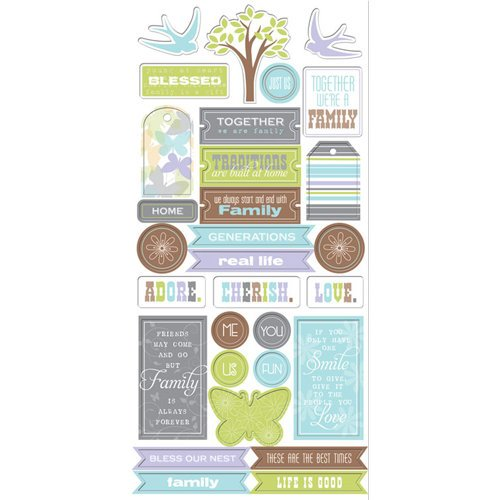 Creative Imaginations - Family Matters Collection - Chipboard Stickers - Family Matters