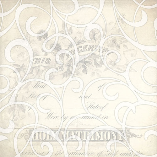 Creative Imaginations - Love Blooms Collection - 12 x 12 Paper with Varnish Accents - Matrimony