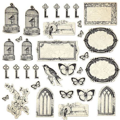 Creative Imaginations - Love Blooms Collection - Die Cut Cardstock Pieces with Varnish Accents