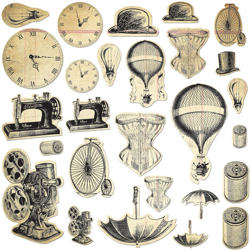 Creative Imaginations - Nostalgia Collection - Die Cut Cardstock Pieces with Varnish Accents