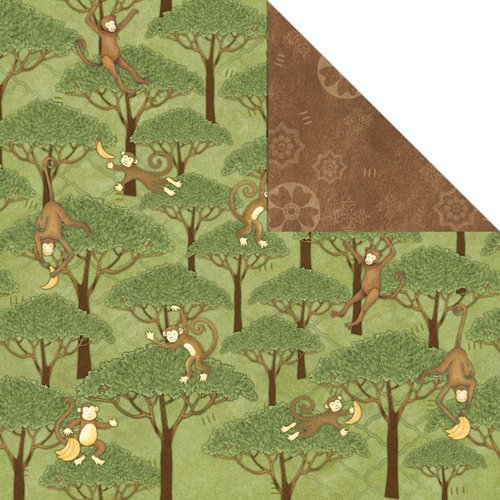 Creative Imaginations - Wild Side Collection - 12 x 12 Double Sided Paper - Monkey Swing