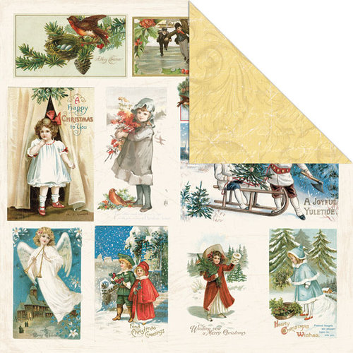 Creative Imaginations - Rejoice Collection - Christmas - 12 x 12 Double Sided Paper - Joy Cards