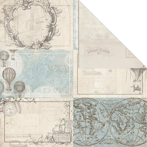 Creative Imaginations - Gallivant Collection - 12 x 12 Double Sided Paper - Postcards