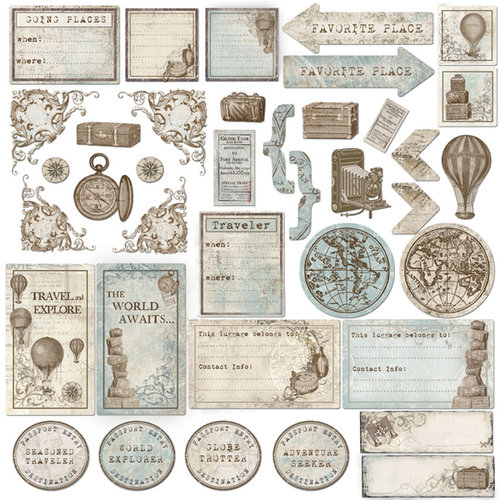 Creative Imaginations - Gallivant Collection - Die Cut Cardstock Pieces