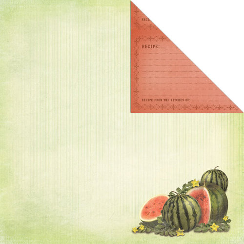 Creative Imaginations - Family Garden Collection - 12 x 12 Double Sided Paper - Watermelon