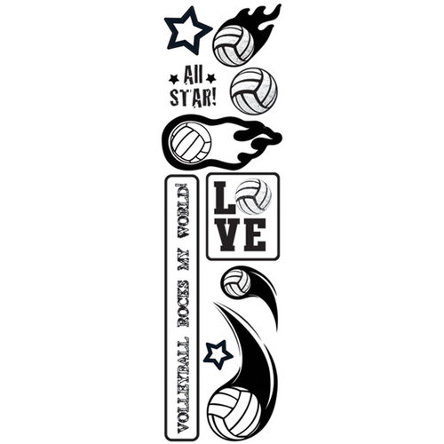Creative Imaginations - Volleyball Collection - Cardstock Stickers - Flaming Volleyball