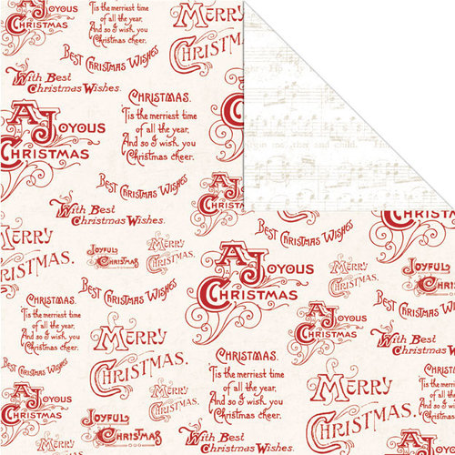 Creative Imaginations - Holly Jolly Collection - Christmas - 12 x 12 Double Sided Paper - Merry Christmas