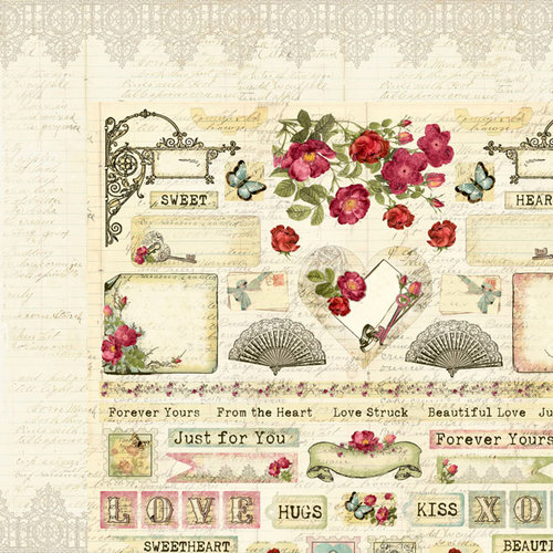 Creative Imaginations - Cotswald Manor Collection - 12 x 12 Double Sided Paper - Affectionate