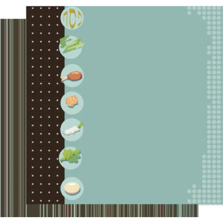 Crafting Jewish Style - Passover Collection - 12 x 12 Double Sided Paper - Retro Seder Plate, CLEARANCE