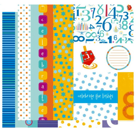 Crafting Jewish Style - Hannukah Collection - 12 x 12 Double Sided Paper - Borders and Tags, CLEARANCE