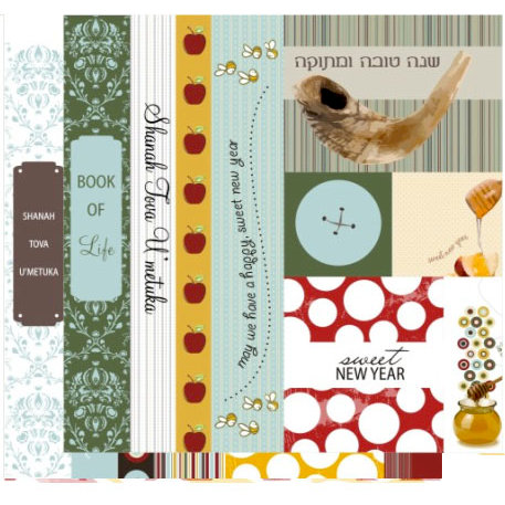 Crafting Jewish Style - Rosh Hashanah Collection - 12 x 12 Double Sided Paper - Borders and Tags, CLEARANCE