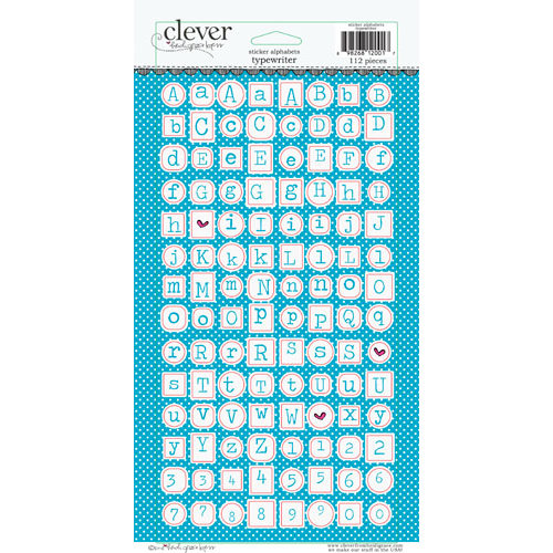 Clever Handmade - Cardstock Stickers - Typewriter - Alphabet - Aqua