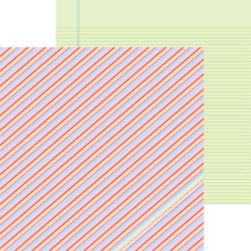 Clever Handmade - Above the Clouds Collection - 12 x 12 Double Sided Paper - Barber Stripe