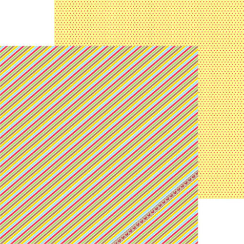 Clever Handmade - In This House Collection - 12 x 12 Double Sided Paper - Barber Stripe