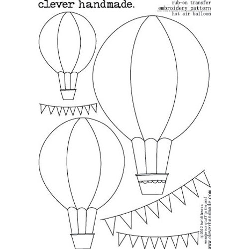 Clever Handmade - Embroidery Patterns - Rub Ons - Hot Air Balloon