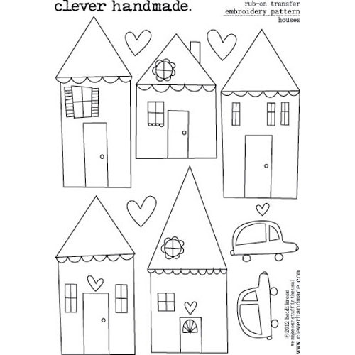 Clever Handmade - Embroidery Patterns - Rub Ons - Houses